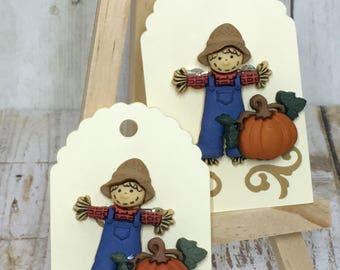 Seasonal Pins, Handmade Pins, Scarecrow and Pumpkin Pin