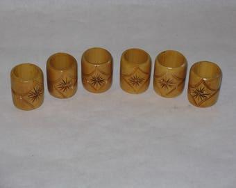 Set of 6 vintage wooden napkin rings carved