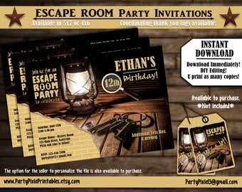 INSTANT DOWNLOAD Escape Room Party Invitations - 5x7/4x6 - Printable and Personalized with your party details - Digital PDF File