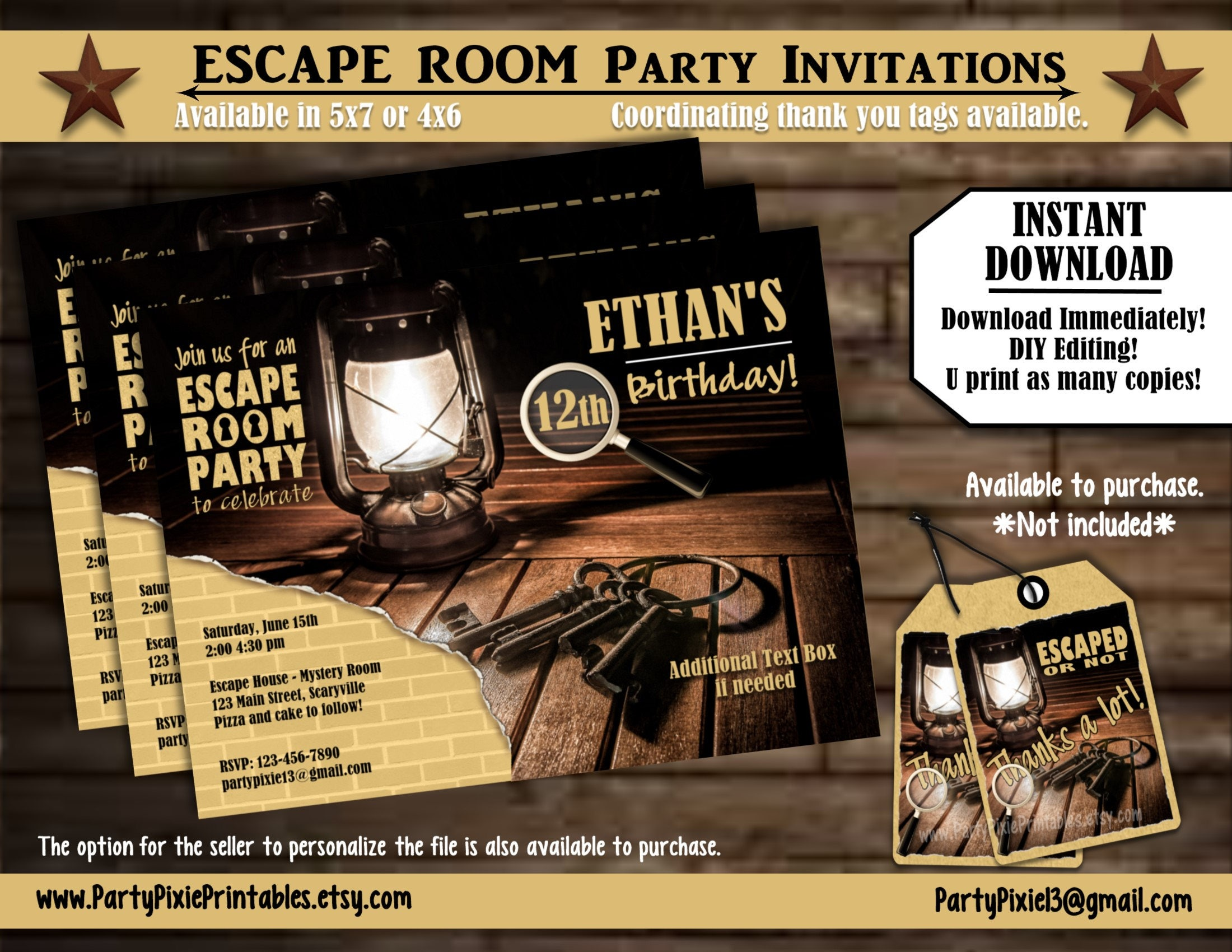 Instant download escape room party invitations 5x7 4x6 for Escape room party