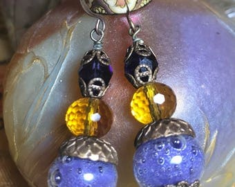 Artisan Jewelry Artisan Lampwork,Citrine, and Swarovski Crystals on Brass Hooks NESBITTSGRAPESODAEARRINGS