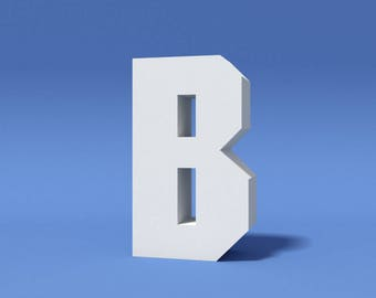 B - Big Letter Decor, Downloadable 3D Peparcraft DIY Living Room Decoration Template. Free Standing Letter for Creating Signs, Names & Words