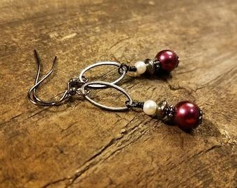 Maroon Earrings, Mississippi State Jewelry, Bulldog Earrings, MSU Earrings