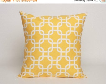 On Sale July Only Corn Yellow Pillow Cover in Premier Prints Gotcha Pattern Designed to Fit 16, 18, 20 or 22 Inch Standard Inserts