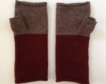 Fingerless Mittens Hand Warmers Wool Fine Gauge in Brick and Light Umber