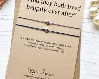 """Wish Bracelet - """"And they both lived happily ever after"""" set of two bracelets with sentiment card and envelope"""