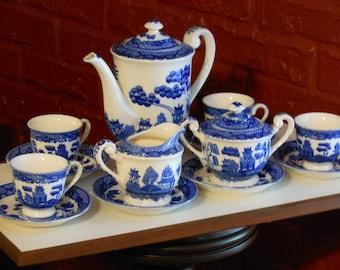 Vintage Willow Pattern 15-Piece Demitasse Set. Made in Japan.