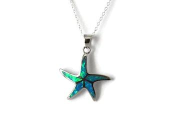 Silver Blue Opal Starfish Pendant - Beach Starfish Necklace Silver - 925 Blue Opal Starfish Necklace