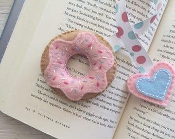 Pink donut bookmark | handmade felt bookmark | Made in Quebec