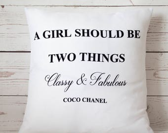 """Coco Chanel Quote Classy - 16"""" Cushion Pillow Cover French Shabby Vintage Chic - UK Handmade"""