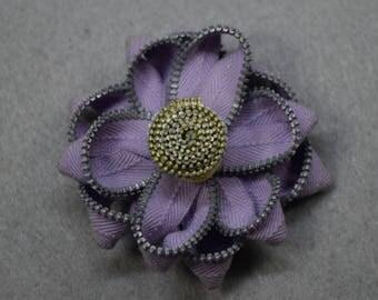 Zipper Flower Brooch - Purple Flower Pin, Upcycled, Recycled, Repurposed, Zipper Jewelry, Zipper Pin, Zipper Brooch, Zipper Art