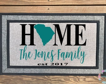 Front Door Mat, Custom Door Mat, Personalized Door Mat, Home Door Mat, Pretty Door Mat, Housewarming Gift, Wedding Gift, Home State Mat