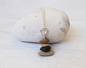 Pebble Stacked Pendant Necklace | Beach jewellery