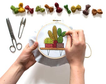 Out of Retirement! June Cacti Contemporary Embroidery PDF by Sarah K. Benning - #skbdiy Pattern Program: Instant Download