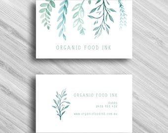 Watercolour Leaves - Custom Business Card - Add your own Logo - Branding