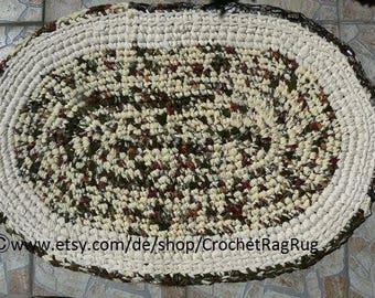 upcycled Crochet, Rag Rug, mat, carpet.  bath mat, Crochet Rug, Tablerunner