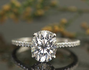 2.85ct Oval Moissanite & Diamond Engagement Ring in 14k White Gold w/ Claw Prongs, 10x8mm Forever One Moissanite, 0.36ctw, 1.7mm Band, Stacy