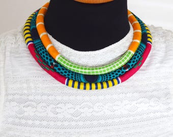 African fabric Necklace, African Necklace, African Print, Handmade Necklace,Tribal Necklace, african bib necklace, African fabric necklace