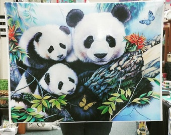 Panda Bears Mom and Cubs Adorable digitally printed High Quality Quilt Cotton 1 Yd Panel