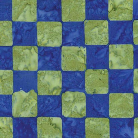 CHESS Cobalt Blue Green ARTISAN Batik Kaffe Fassett Sold in 1/2 yd increments
