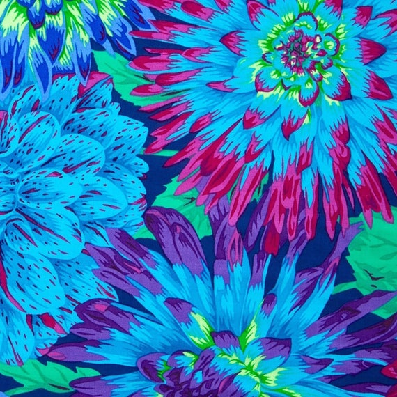 CACTUS DAHLIA  Blue PJ54 Philip Jacobs Kaffe Fassett Collectives sold in 1/2 yd increments
