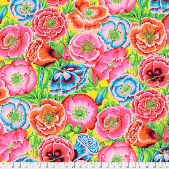 Pre-Order POPPY GARDEN Red Philip Jacobs PWPJ095.REDXX Kaffe Fassett Collective Sold in 1/2 yd increments Pre-Order Item