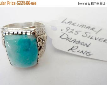 "ENDLESS SUMMER SALE Incredible Genuine Aaa Grade Larimar Men's Ring ""Kimora Dragon"" .925 Sterling Silver  Free U.S. Shipping  U.S. Size 12 1"