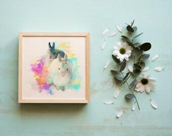Two Bunnies Giclée Print - bunny print for nursery | baby wall decor | bunny picture nursery | kids wall art | kids wall decor | pet gift