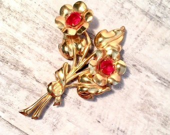 Vintage Coro Brooch Pin, Large Decorative Red Rhinestone Goldtone Flower Brooch Bouquet, Designer Signed, Mid-Century Estate Jewelry