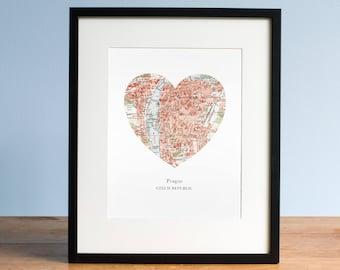 Prague Heart Print, Czech Map Print, Heart Map Print, Choose any hometown, Custom Valentines Gift, Valentines Day Print