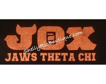 Jaws Theta Chi Iron On, Monsters University Iron On, Custom Iron On