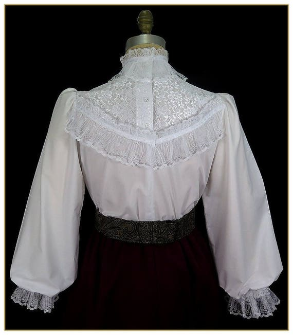 Edwardian Blouses | White & Black Lace Blouses & Sweaters Lace Broadcloth Victorian BlouseLace Broadcloth Victorian Blouse $92.00 AT vintagedancer.com