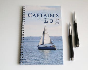 Captains log notebook, Blank Paper Notebook, Sea captain journal, Sketch book, Masculine gift, Nautical gift,  Sailboat journal, Fathers day