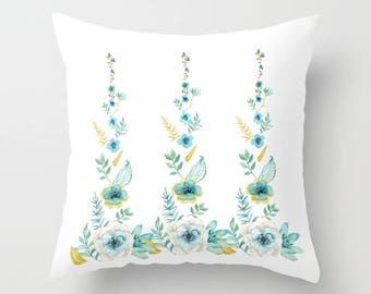 Blue Floral Throw Pillow, watercolor flowers, blue and gold feminine, rectangle flowers, decor, pillows, throw pillow, refresh Spring