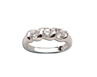 Sterling Silver Baby Ring with Twisted Band and Three Stones for Girls (BR-03)