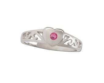 Sterling Silver Heart Baby Ring with Ruby Stone for Girls (TCR-29 Ruby Heart)