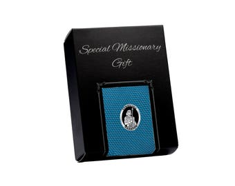 LDS Missionary Gift with Teal Tie and Stripling Warrior Tie Pin Gift Set in Gift Box (MTP-Teal)