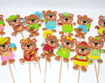 15 x teddybears picnic  foam cupcake  toppers  food picks with glitter party with 14 x food themed pics free