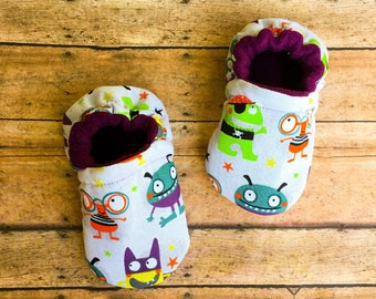 Monster Moccasins - Silly Monsters Baby Shoes - Halloween Shoes - Halloween Baby Booties - Fall Baby Fashion - Autumn Booties - Baby Shower