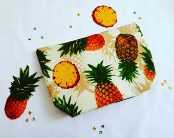 Handmade pineapple print makeup bag