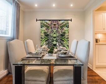 Marijuanna Art, OG Purple Goo Cannabis Wall Art, Exotic Plant Art,Kaleidoscope Art Prints, Tropical Wall Art Fabric, Large Botanical Print