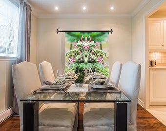 Marijuanna Art, Purple Wonder Cannabis Wall Art, Exotic Plant Art,Kaleidoscope Art Prints, Tropical Wall Art Fabric, Large Botanical Print