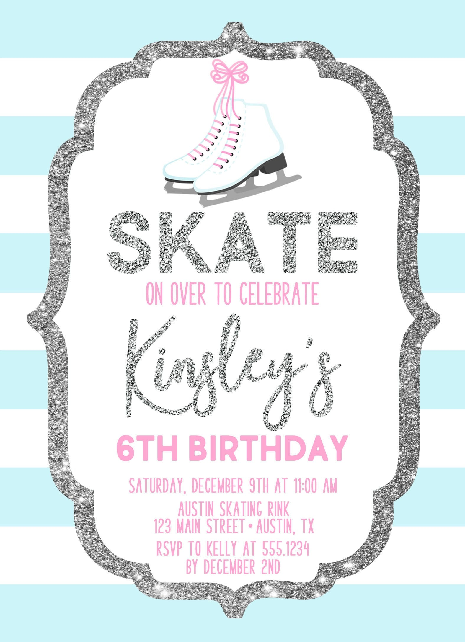 Ice Skating Birthday Invitation, Ice Skating Invite, Ice Skating ...
