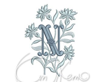 MACHINE EMBROIDERY DESIGN - Monogram letter N