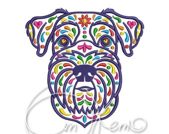 MACHINE EMBROIDERY DESIGN - Calavera Schnauzer, Dia de los muertos, Mexican design, Halloween design, calavera dog, Day of the dead