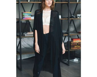 black kimono, black summer cardigan, festival clothing,coachella clothing,coachella party,music festival clothing,festival,cochella