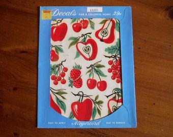 Vintage Original Fruit Meyercord Decals - 1960's Red Apple Pear Cherries Strawberries Retro Fruits Decals - Meyercord Kitchen Food Decals
