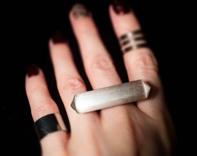 Selenite Horizontal Ring, size 9.25