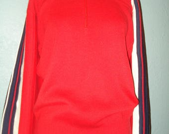 Men's Vintage 1970's Meister Ski Sweater Red White & Blue Long Sleeve Zip Pullover Size Large