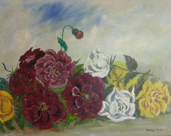 Vintage Impressionist Still Life Floral Flowers Red Yellow Roses Oil Painting